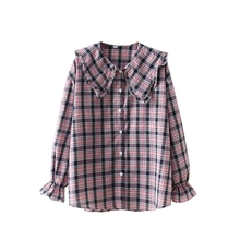 2019 Spring Women Plaid Women Tops And Blouses Casual Long Sleeve Tops Ladies Vintage Loose Doll Collar Trumpet Sleeve Shirt недорого