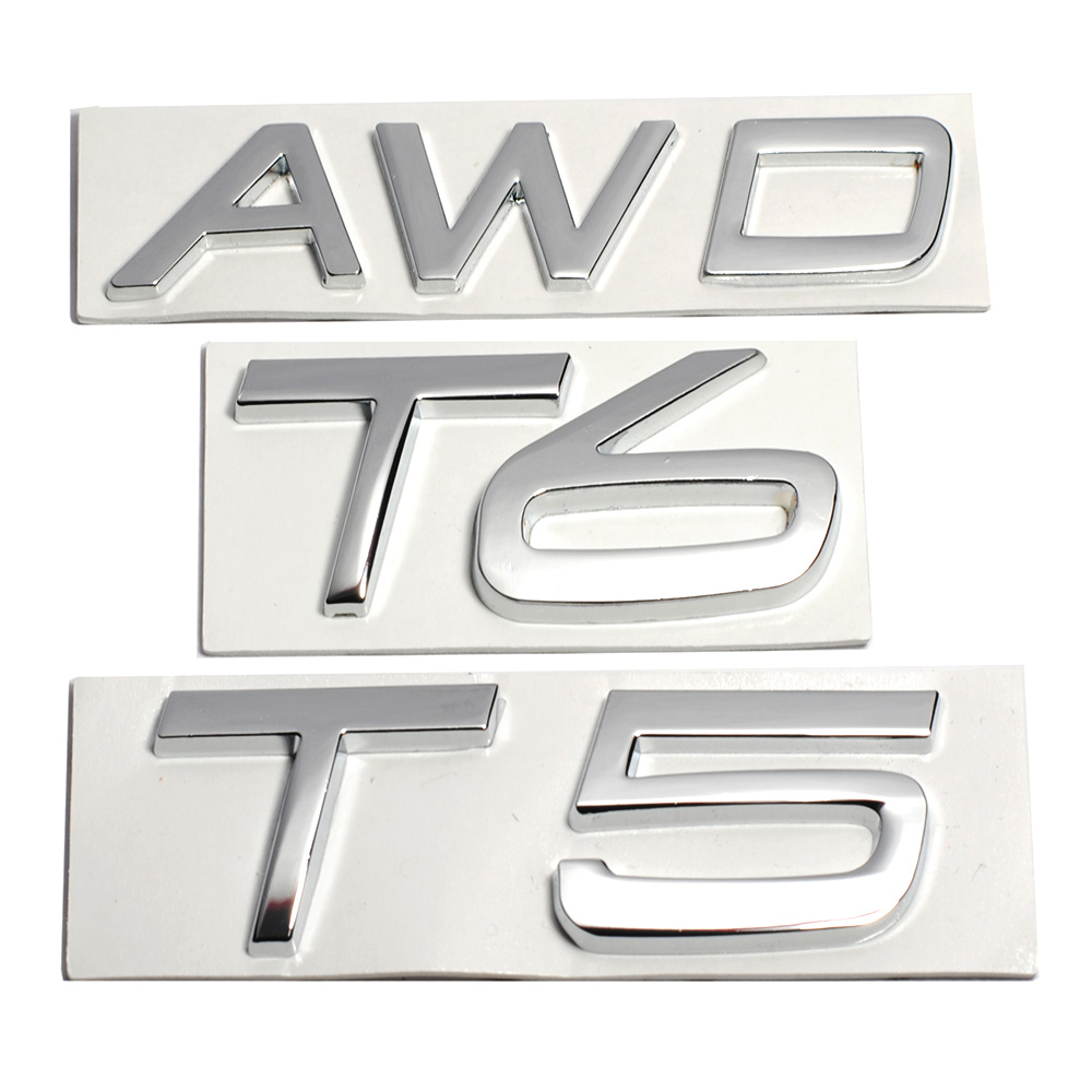 3D Metal T5 T6 AWD LOGO Emblems Badges Car Sticker Letter Decal Car Styling for Volvo XC60 XC90 S60 S80 S60L V40 V60 Tail Fender 4pieces set ferodo front car brake pads for volvo xc60 t 2 0 t6 3 0 t6 3 0 fdb4238