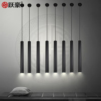 Modern Led Pendant Light Long Tube Cylindrical Single Head Black Restaurant Bar Dinging Room Droplight