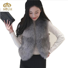 2016 Winter Woman Female Autumn Beautiful Famous Brand MIUK Sleeveless Vest Fur Coat Vest Fox Fur