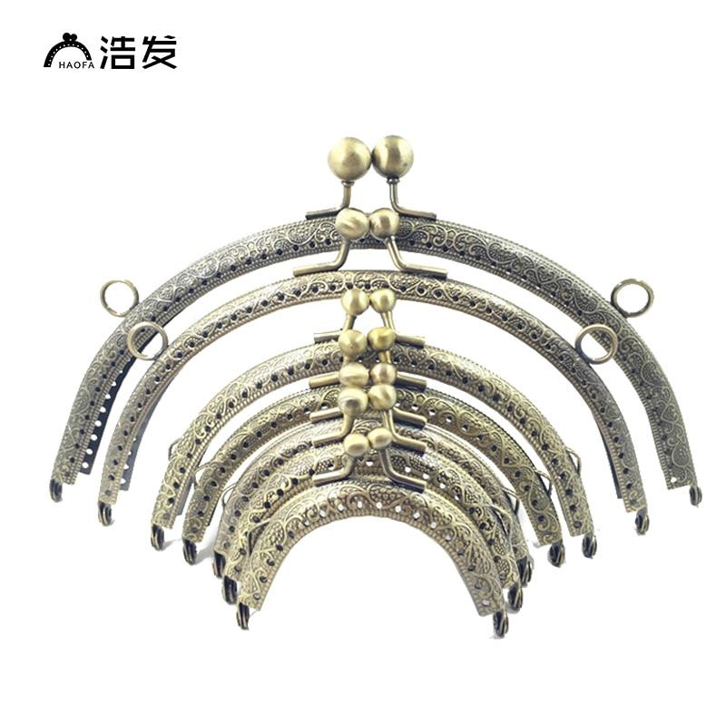 HAOFA 8 Sizes 6.5cm 8.5cm 10.5cm12.5cm15cm18cm20cm Freely Combine Bag Accessories Purse Frame Ring Kiss Clasp Handle For Bag