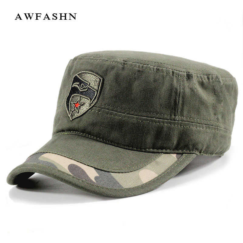 57f657c54b92e5 Men's military hats army caps adjustable red star flat hat outdoor camo  cotton camouflage tactical bone