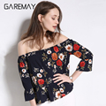Off Shoulder Chiffon Women Blusas Summer White Tops Pattern Large Size Ruffle Blouse Chemise Clothing For Women Blouse GAREMAY