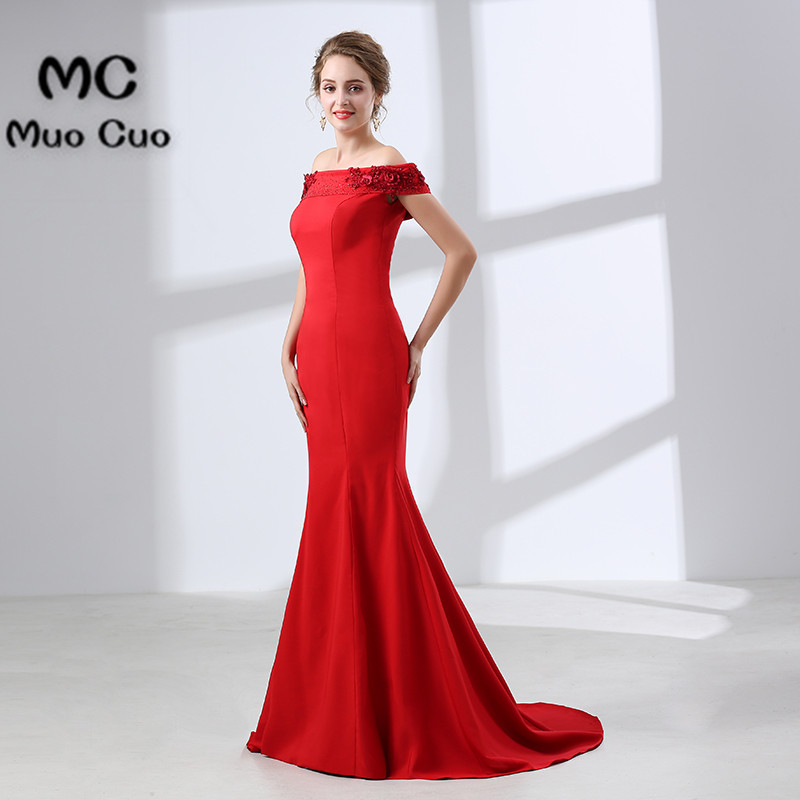 Sexy 2018 Mermaid Evening Dresses Long with Flowers Beaded Elastis Satin vestidos de fiesta Formal Off Shoulder Prom Dress