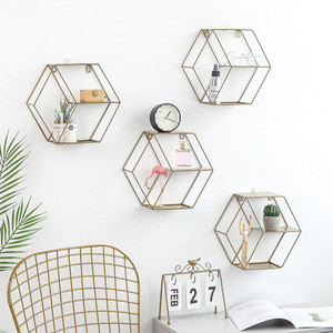 Image 5 - 3 Colors Wall Mounted Metal Rack Circular Mesh Iron Shelf Euro Style Round Shelf Office Sundries Organizer Home Decor