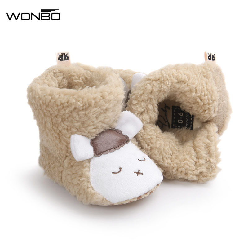 Wonbo Winter Cute Panda Animal Style Baby Boots Fleece Worm Cotton-padded Shoes Baby Booties Wholesale 0-1 Infant Toddler Shoes 1pcs cute baby panda animal coverall clothing cotton padded winter footies n01