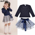 Girls Clothes Suits 2017 New Arrival Autumn Cotton Diamond Dark Blue T-shirt+dot Bow Skirt 2pcs Lovely Children's Clothing