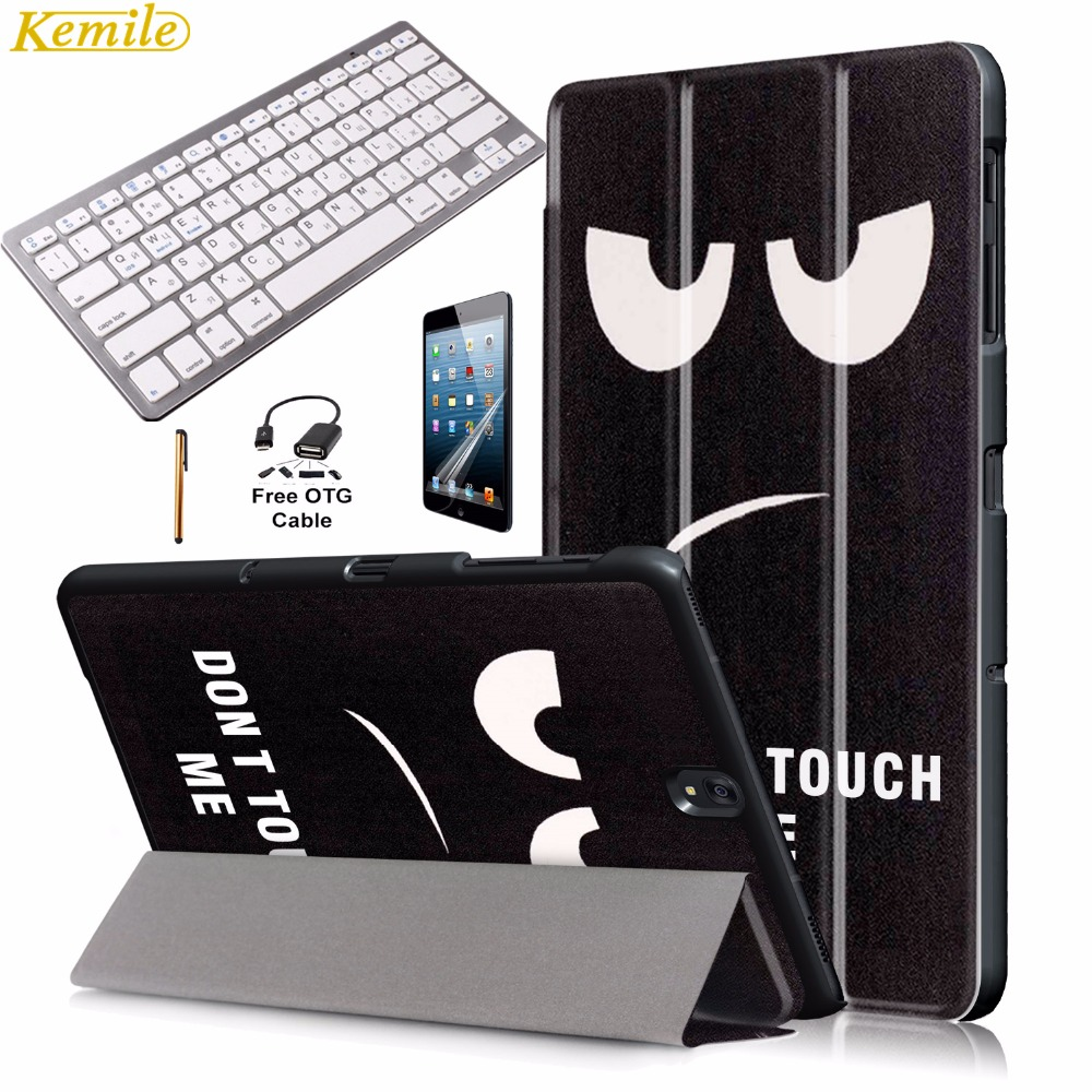 купить Kemile Ultra Slim Print Smart Case Cover for Galaxy Tab S3 9.7 inch T820 T825 with Wireless Bluetooth 3.0 Russian Keyboard по цене 1523.14 рублей