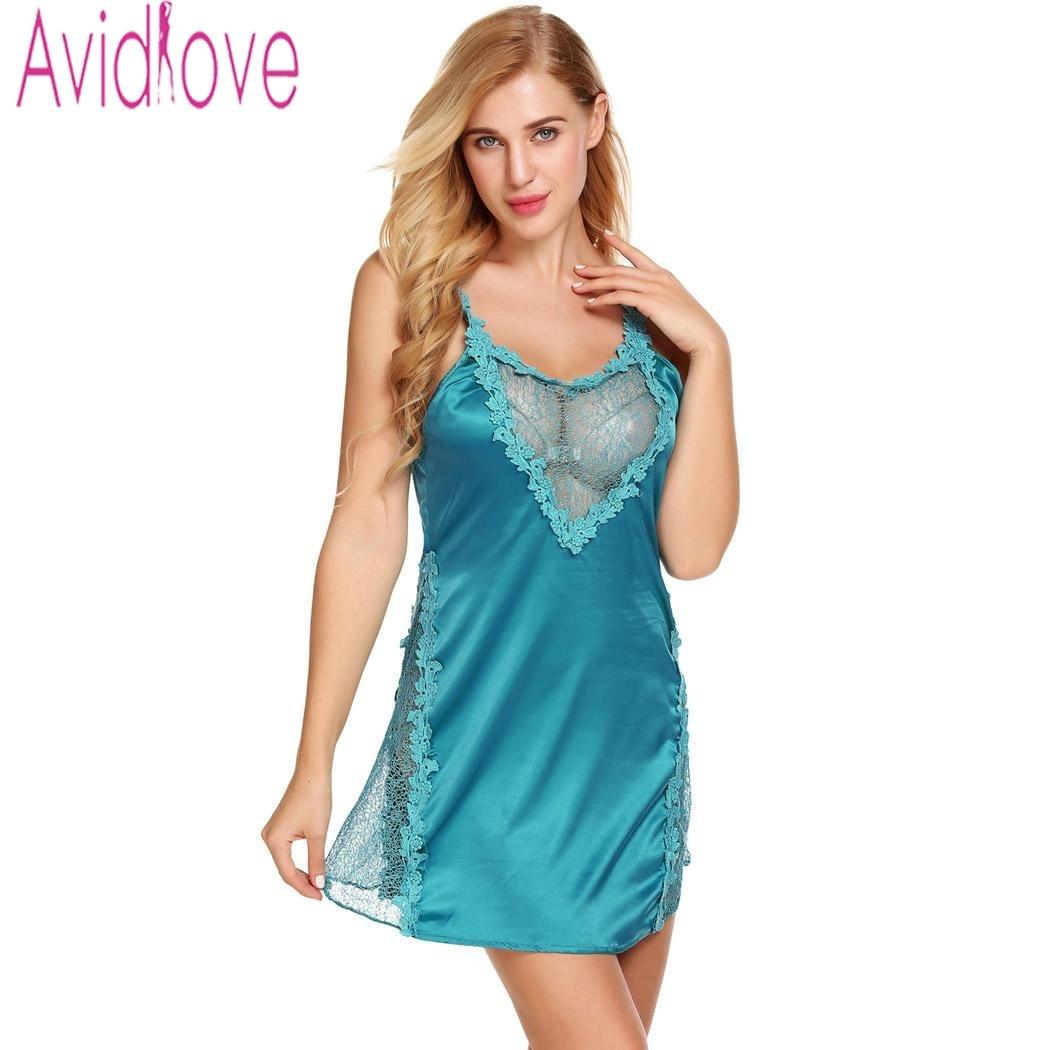 new product a1dd7 1a481 Avidlove Sexy Spitze Satin Nachthemd Beckless Nachthemd Nighty Frauen Seide  Nachtwäsche Chemise Nacht Kleid Plus Größe Nachthemd