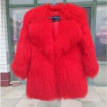 Настоящая монгольская овечья шуба, женская меховая куртка с натуральным мехом монгольской овцы, Шуба на заказ размера плюс, F1062