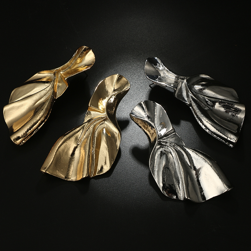 Docona Trendy Gold Silver Bowknot Geometric Drop Dangle Earrings for Women Metal Pendant Party Wedding Jewelry Pendientes 6143 in Drop Earrings from Jewelry Accessories