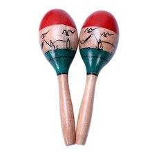 1 пара деревянных maracas прочный большой 25 см музыкальный образовательный инструмент игрушка для детей Дети maraca