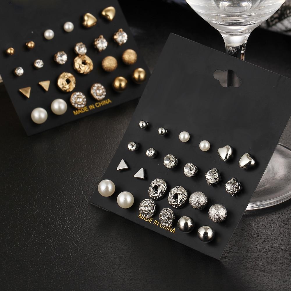 12 kom / set Kristalna legura okrugla kugla Zlatna naušnica Vintage - Modni nakit - Foto 3