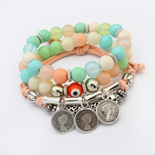 Youga 2019 womens Natural Stone Bohemian Bracelet Multicolor Multilayer Vintage Coin Charm Ethnic Jewelry