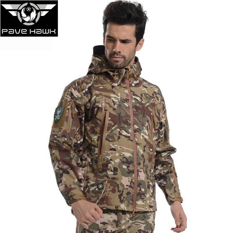 Softshell Windbreaker Military Tactical Hooded Camouflage Jacket Men Waterproof Outdoor Sport Camping Hiking Hunting Clothes