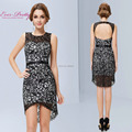 Free Shipping Cocktail Dresses 2016 Sleeveless Round Neck Hi-lo Lace Party Dress For Women vestido de fiesta HE05119BK