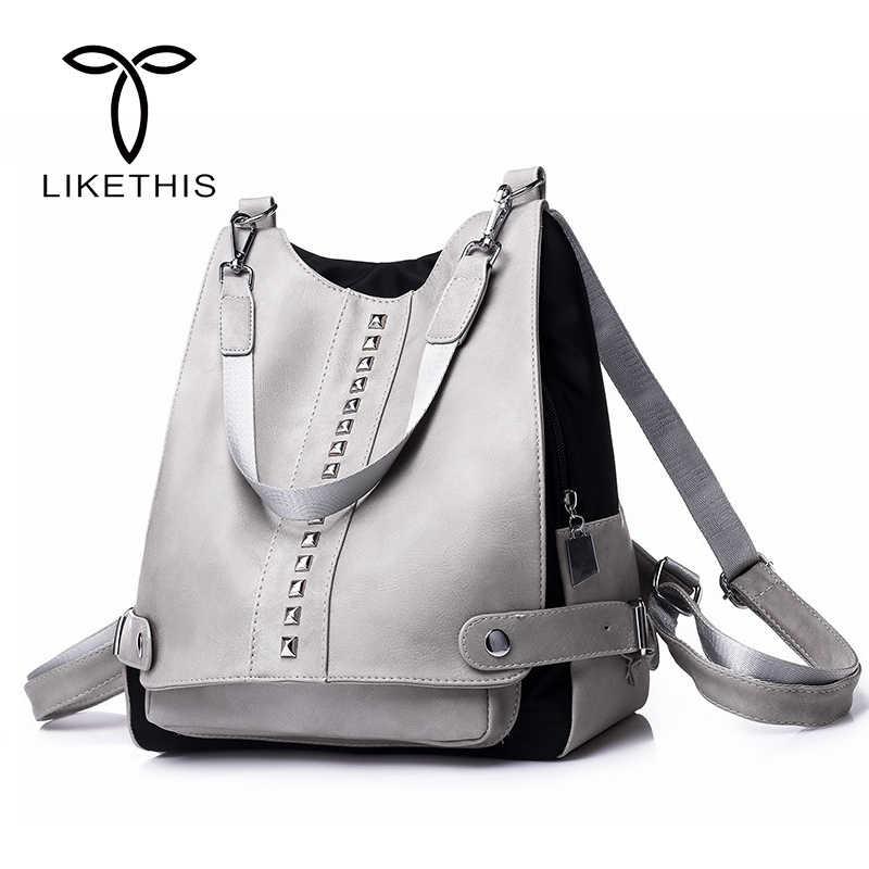 0905feb6bbe3 Женский кожаный рюкзак высокого качества сумка на плечо Студенческая сумка  женская мода серые заклепки простая школьная