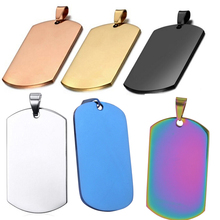10 pcs Wholesale Rectangle 6 Colors Men Stainless Steel Stamping Blank Dog Tags Pendant Necklace Jewelry Findings 24*40mm