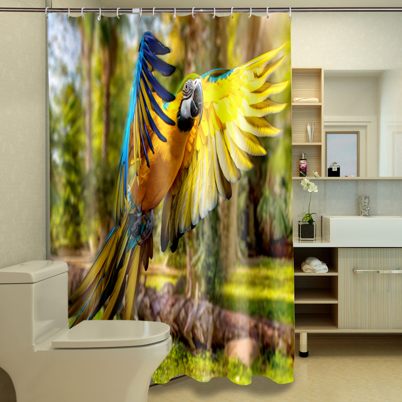 Creative Guitar Piano 3D Photo Digital Printing Bath Waterproof Fabric Shower Curtains