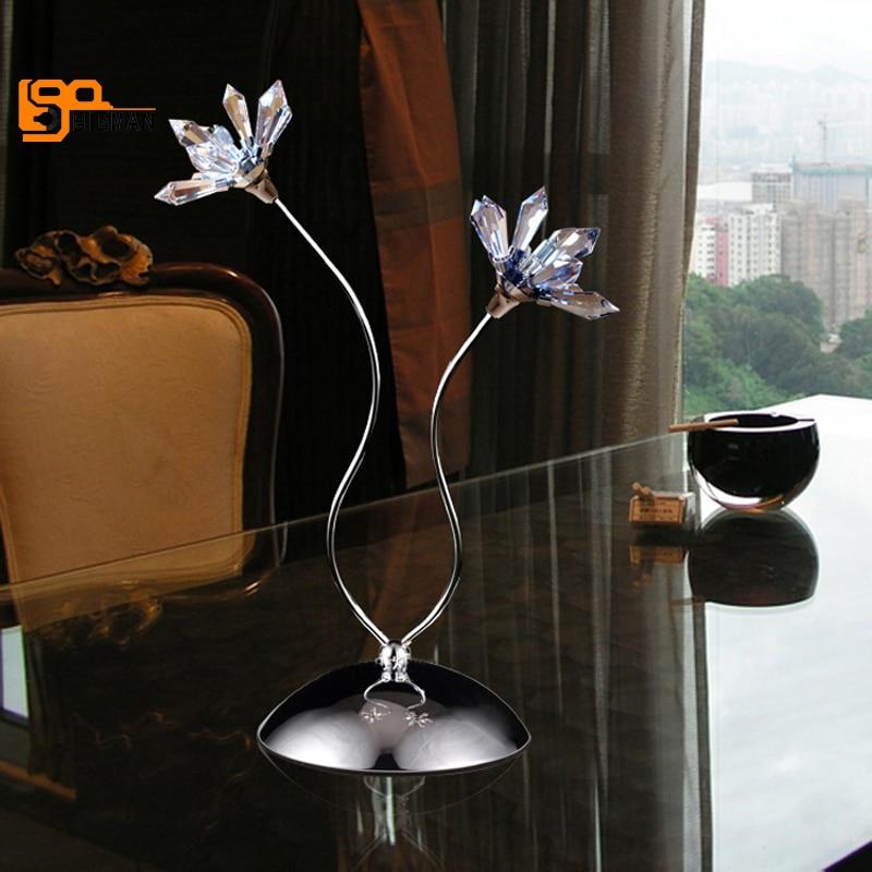 Новый дизайн цветок кристалл свет современные настольные светильники блеск украшение дома cristal лампе таблице освещения