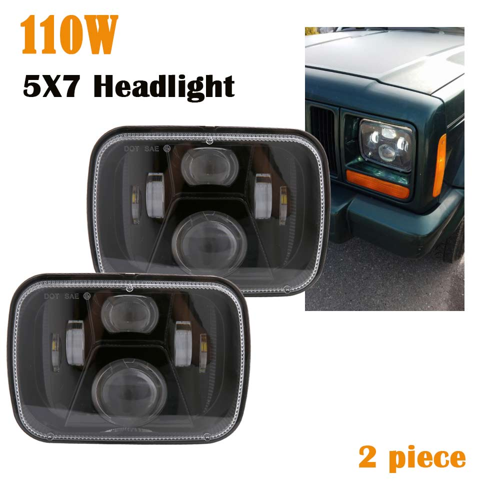 2 X Square LED Headlight 7x6 5x7 Chrome Reflector Sealed Beam Replacement Motorcycle 7 inch Headlight