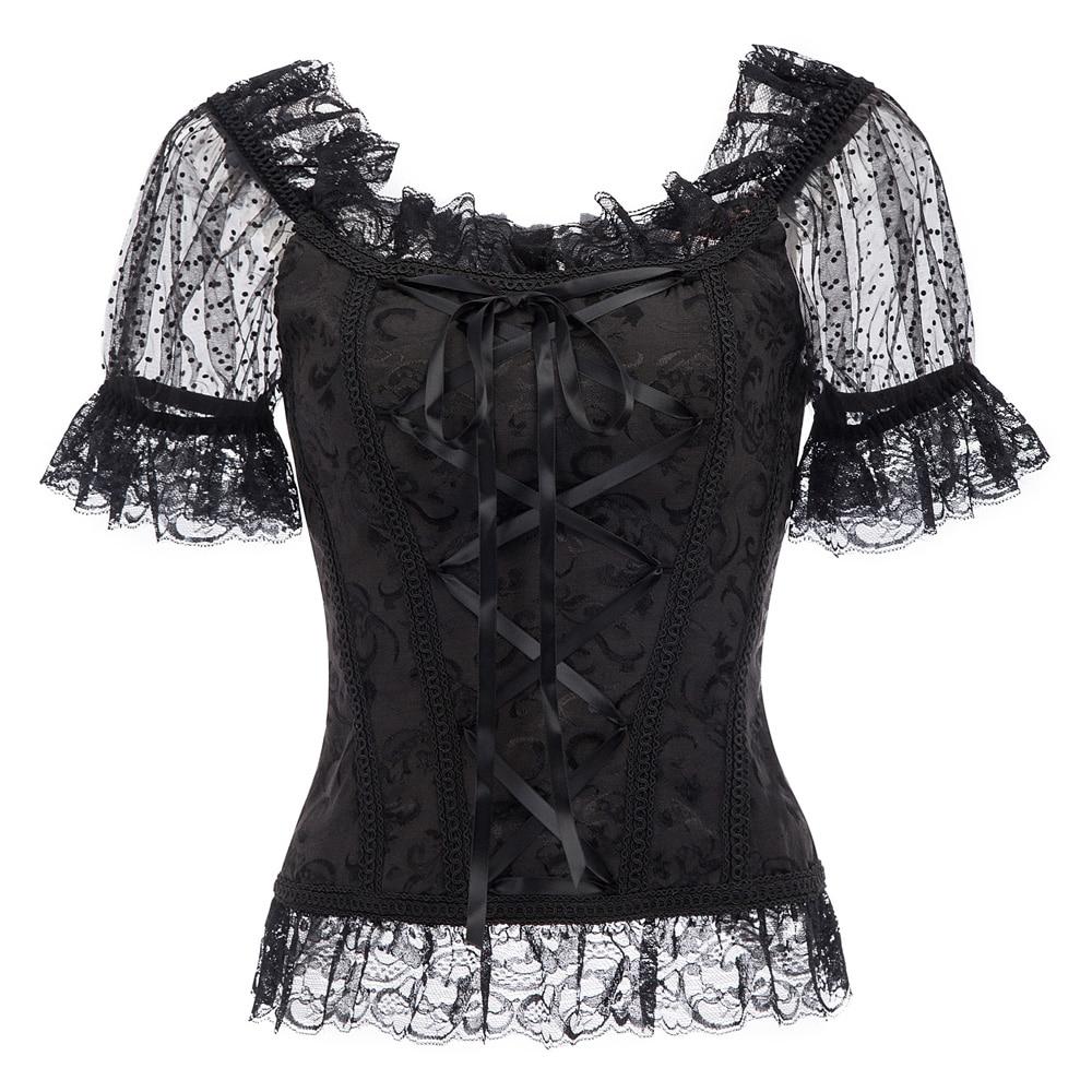 8f86cbc7129 BP vintage party gothic shirt Women tops steampunk Renaissance Corset Style  Short Sleeve Off Shoulder Lace