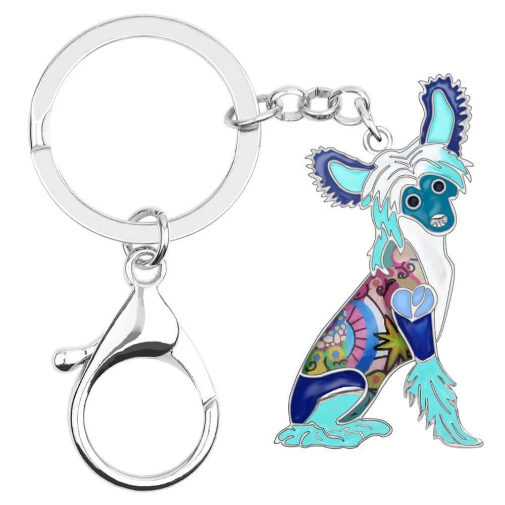 Bonsny, эмалированный сплав, Китайская хохлатая собачья цепочка для ключей, брелок, держатель, модное животное, домашнее животное, ювелирное изделие для женщин, девушек, сумка, автомобиль, талисманы, подарок
