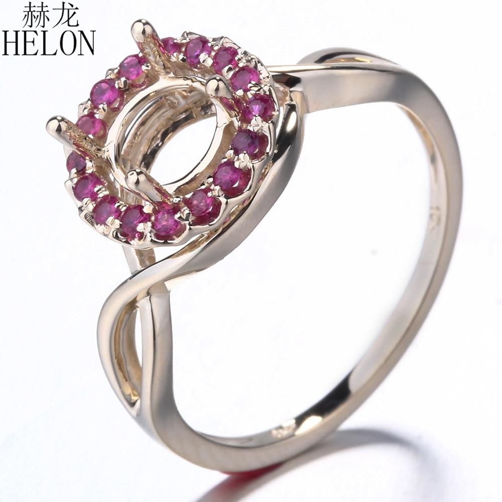 HELON Solid 14 K żółte złoto prawdziwej rubiny Semi Mount pierścionek zaręczynowy ślub pierścień 6.5mm do 7mm okrągły ustawienie dla kobiet w porządku biżuteria w Pierścionki od Biżuteria i akcesoria na  Grupa 3