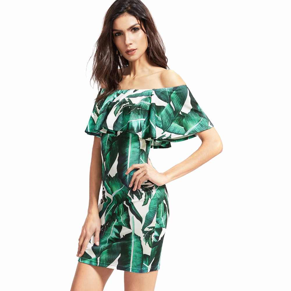 Women Green Tropical Print Sexy Beach Bodycon Dresses 2019 New Fashion Slim  Mini Elegant Dress Ruffles 31875ae324a1