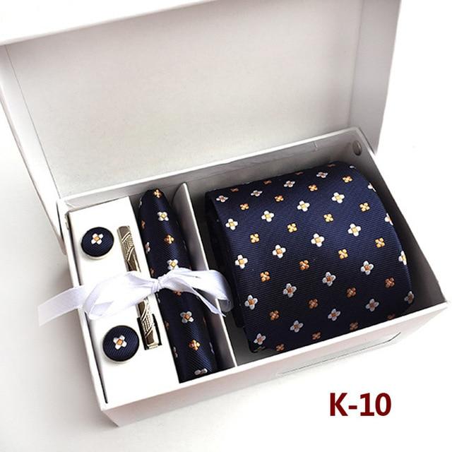 Exclusive Paisley Man Tie Handkerchief Pin and Cufflinks Set Gift Box