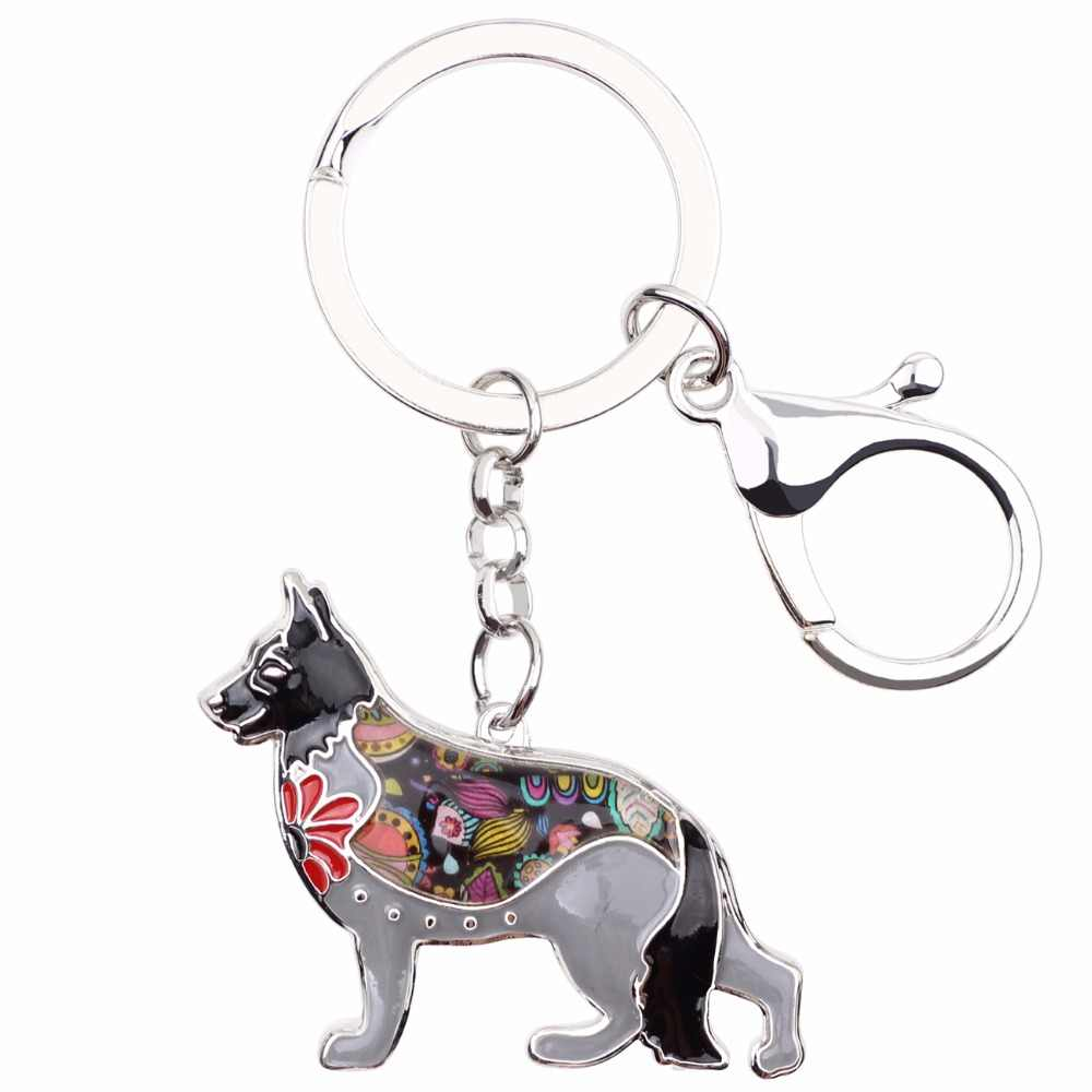 Bonsny Enamel German Shepherd Dog Key Chain Key Ring 2017 New Fashion Jewelry For Women Bag Pendant Car Key Keychain Accessories