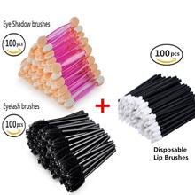 100 PCS Dual Sided Soft Eye shadow Brush Sponge +100 PCS Eyelash Mascara Applicator +100PCS Disposable Lip Brushes Combo