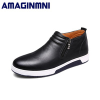 AMAGINMNI Brand Men Fashion Boots Durable Rubber Sole Man Genuine Leather Ankle Shoes Men Brown Black