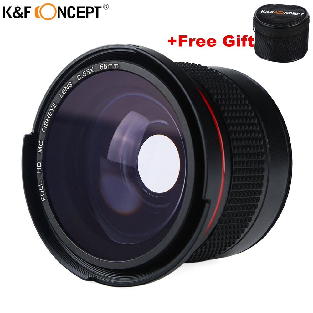 Russia Ship K&F CONCEPT 58MM FHD 0.35x Fisheye Macro Wide Angle on-Lens Multi-Coated Blue layers For Camera Canon /Rebel