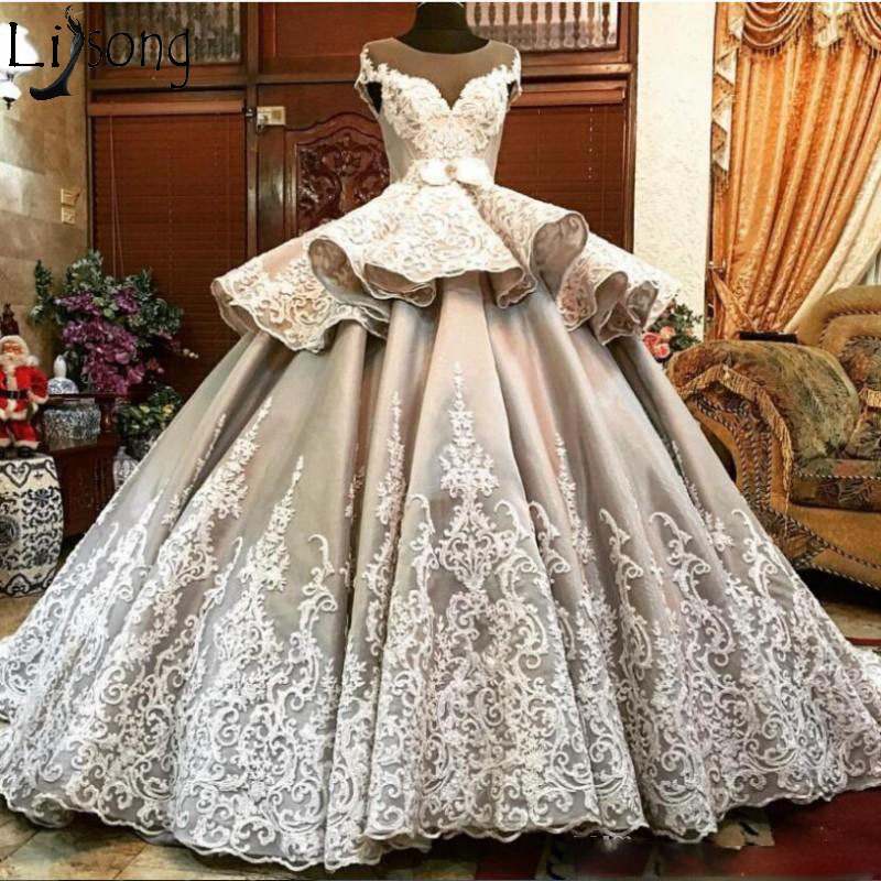 Aliexpress.com : Buy Luxury Wedding Gowns 2019 Sheer Neck