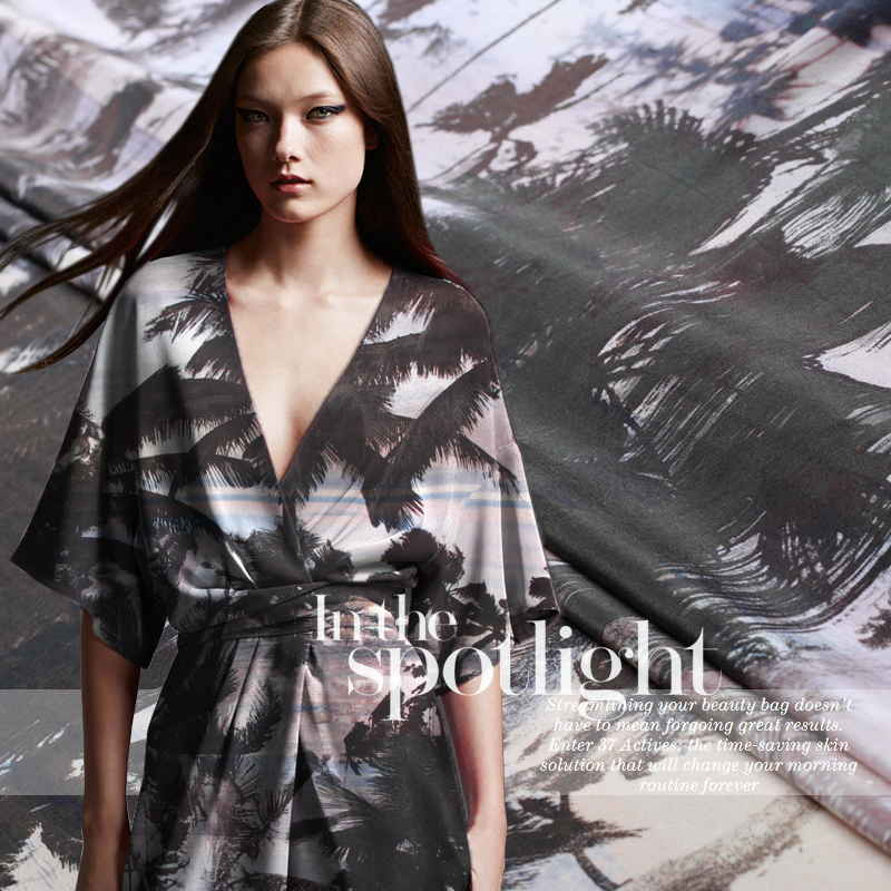 Tropical island palm woodlands wind silk crepe de chine printed fabrics Fabrics Limited targeting