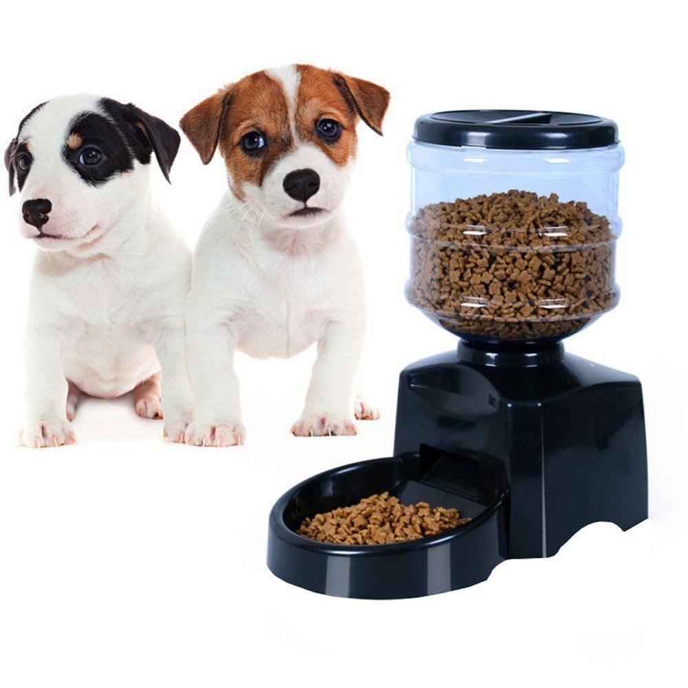 ФОТО 5.5L High Quality Automatic Pet Feeder Food Dish Bowl Dispenser LCD Display Dog Cat Black
