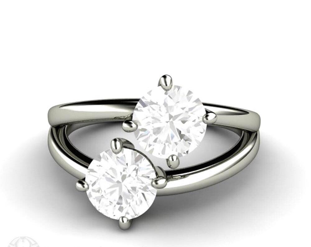 Стерлинговое Серебро 925 0.5ct F кольца с муассанитом для женщин Помолвочное с солитёром Свадебные модные ювелирные изделия Элегантные уникаль