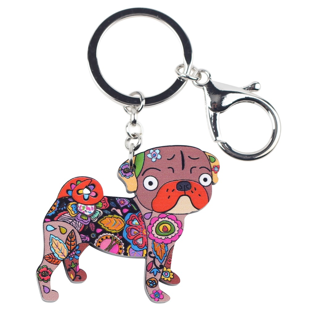 Bonsny Acrylic Dog Jewelry Terrier Pug Dog Key Chain Key Ring Pom Gift For  Women Girl Bag Charm Keychain Pendant Jewelry-in Key Chains from Jewelry ... 8e8f74a61