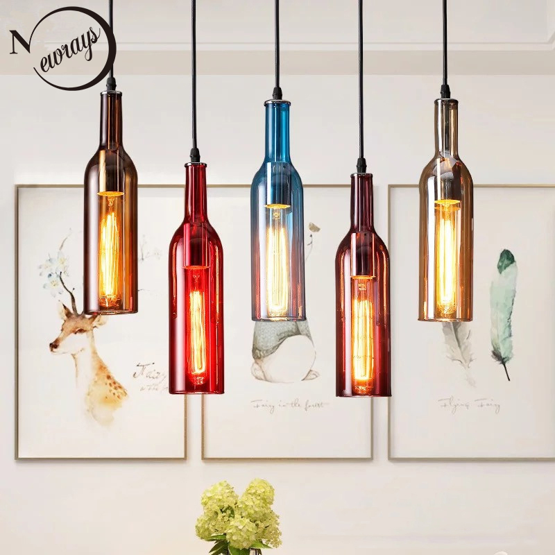 Vintage Creative Beer Bottle Glass Pendant Light LED E27 With 5 Colors Loft Hanging Lamp For Bar Kitchen Restaurant Bedroom Shop