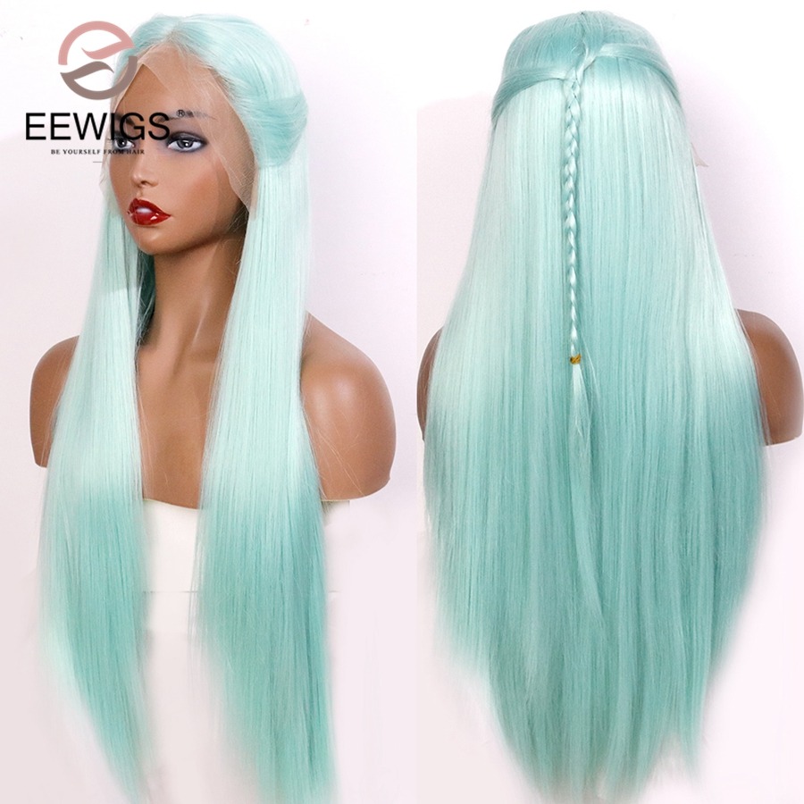 EEWIGS Middle Part Light Green Lace Front Synthetic Wigs Heat Resistant Straight Wigs With Braid For Black Women Glueless Wig