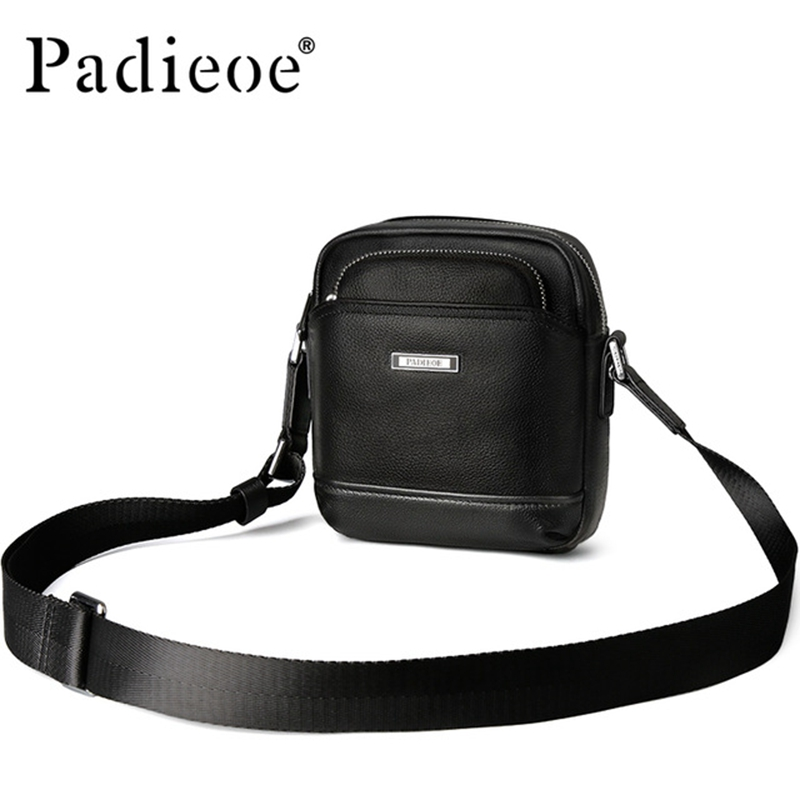 Padieoe Casual Men's Satchel Famous Brand Shoulder Bag for Male Genuine leather Men Messenger Bag Fashion Mini Crossbody Bag