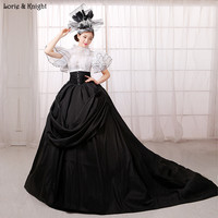 Noble Reine Noir et Blanc Royal Robes De Bal Pageant Robe Mascarade Robe De Bal Quinceanera Robe