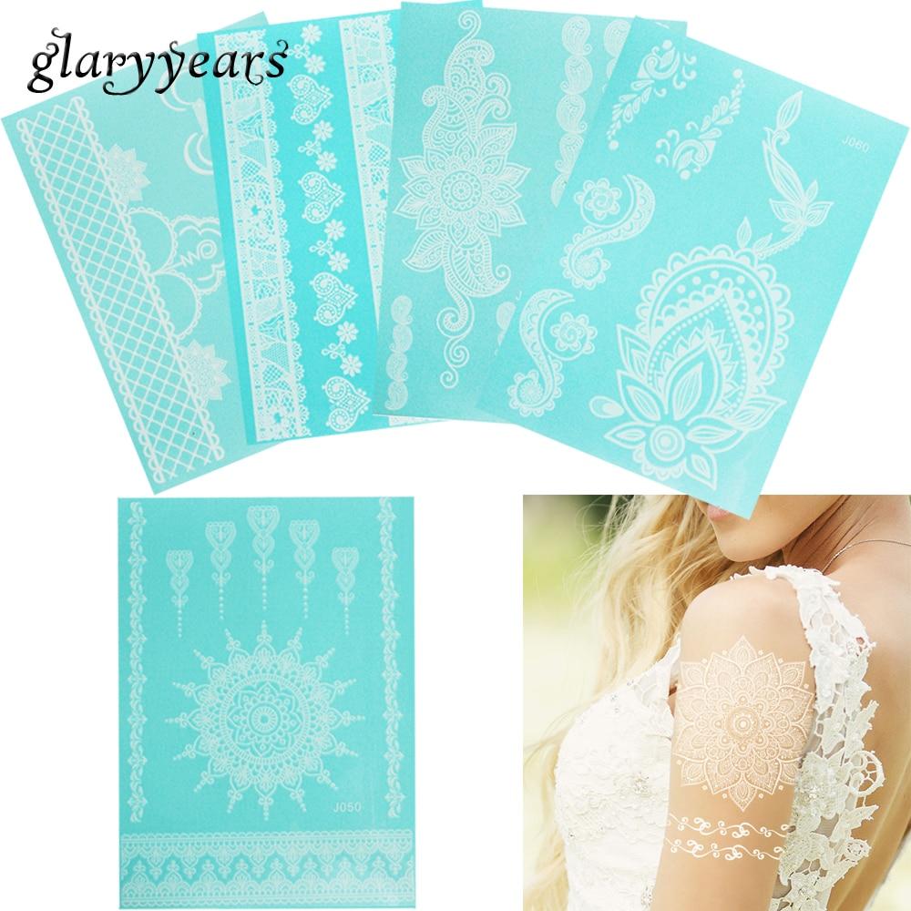 glaryyears 1 Sheet Beauty White Bracelet Jewelry Tattoo Sticker Flower Lace Pendant Temporary Decal for Women Body Makeup Art WJ