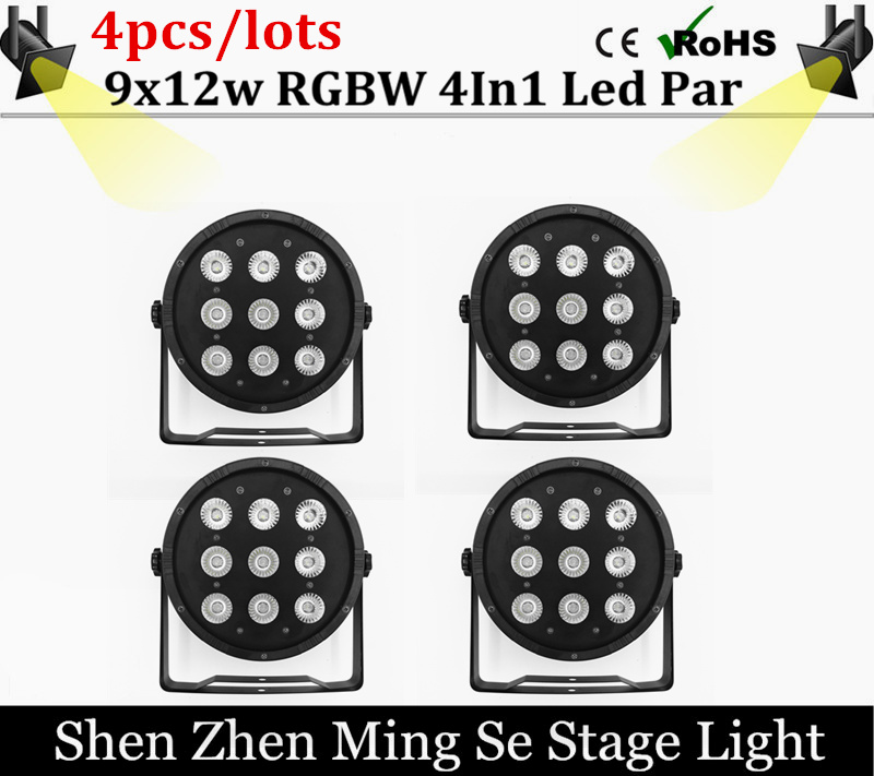 4pcs/lots  9x12W Flat LED Par Lights, 9*12w RGBW 4IN1 PAR DMX512 control disco lights professional stage DJ equipment 96pcs 130mm scroll saw blade 12 lots jig cutting wood metal spiral teeth 1 8 12pcs lots 8 96pcs