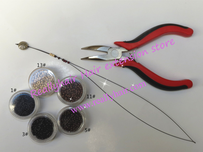 Free shipping 5000pcs Nano rings+1pcs angle head plier+1 pcs NanoRings hook needle for NanoRings hair extension tool kits