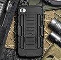 Armadura híbrido dual layer caso coldre para iphone 6/6 Plus 3D Kickstand & Bloqueio Cinto Estilo Militar Escudo cobrir
