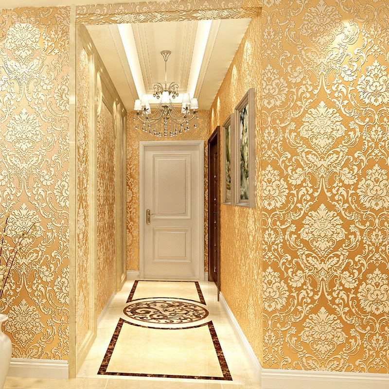 Yiwumart Non-woven 3D Flocking Thickening Gold Wallpaper For Hotel Guest Room Bedroom Wall Paper Embossed Decorative Wallpaper