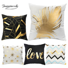 Fuwatacchi Gold Stamping Geometric Cushion Covers Waves Christmas Pillow Cover Love Letter for Home Decoration 2019