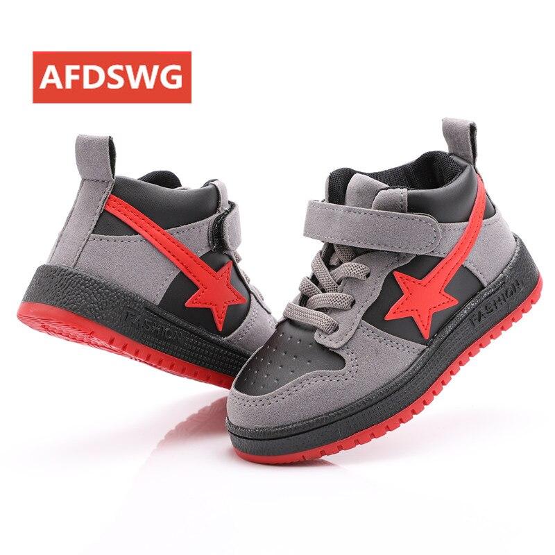 AFDSWG primavera e no outono moda preto estrela de cinco pontas-sapatilhas ocasionais para meninos tênis sapatas dos miúdos para a menina vermelha crianças